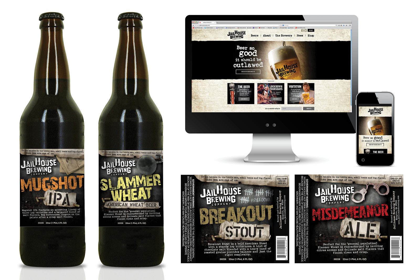 Veugeler Design Group - Jailhouse Brewing Website Design - Print Design - Package Design