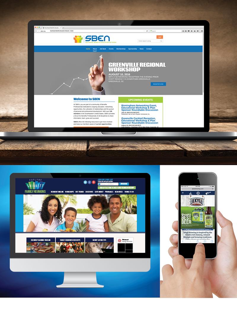 Veugeler Design Group  Website Design & Development - Southeastern Benefits Education Network, Atlanta Reunion, Jekyll Brewing