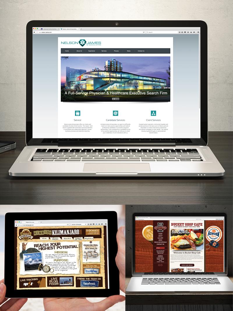 Veugeler Design Group  Website Design & Development - Nelson James and Associates,  Mission Kilimanjaro, Bucket Shop Cafe