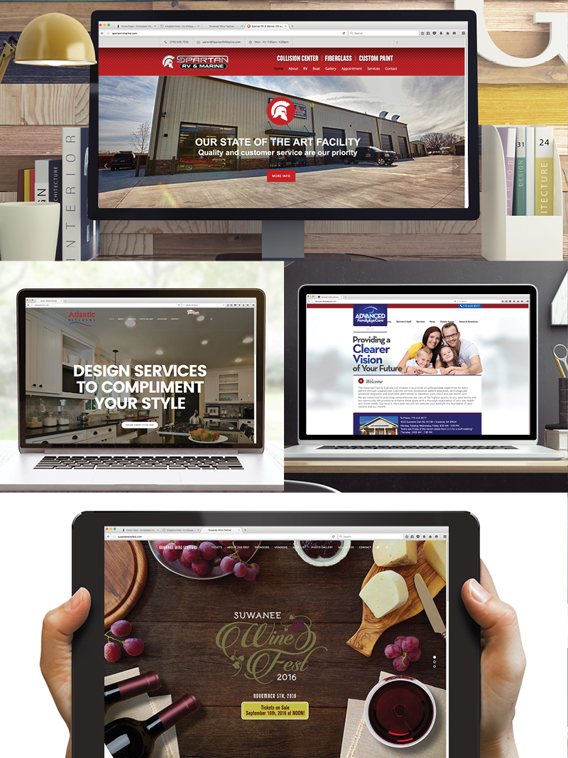 Veugeler Design Group Client Name Website Design & Development - Spartan RV and Marine, Atlantic Kitchen, Advanced Family Eye Care,  Suwanee Wine Fest